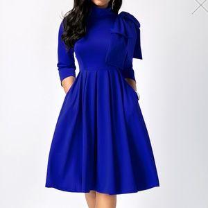 4b1b2514c34 Rosewe Dresses - Blue High Waist Dress With Pockets